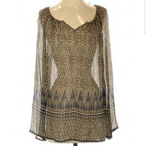 Lucky Brand Sheer Long Sleeve Rayon Top NWT